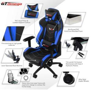 Sedia da gioco GT Omega Elite Racing blu